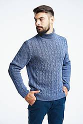 Мужской шерстяной теплый свитер под горло