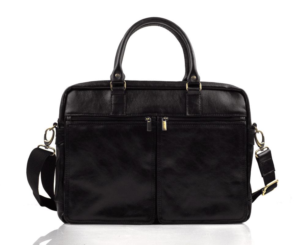 Шкіряна сумка на плече для ноутбука чорна Solier SL01