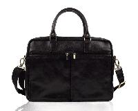 Шкіряна сумка на плече для ноутбука чорна Solier SL01, фото 1
