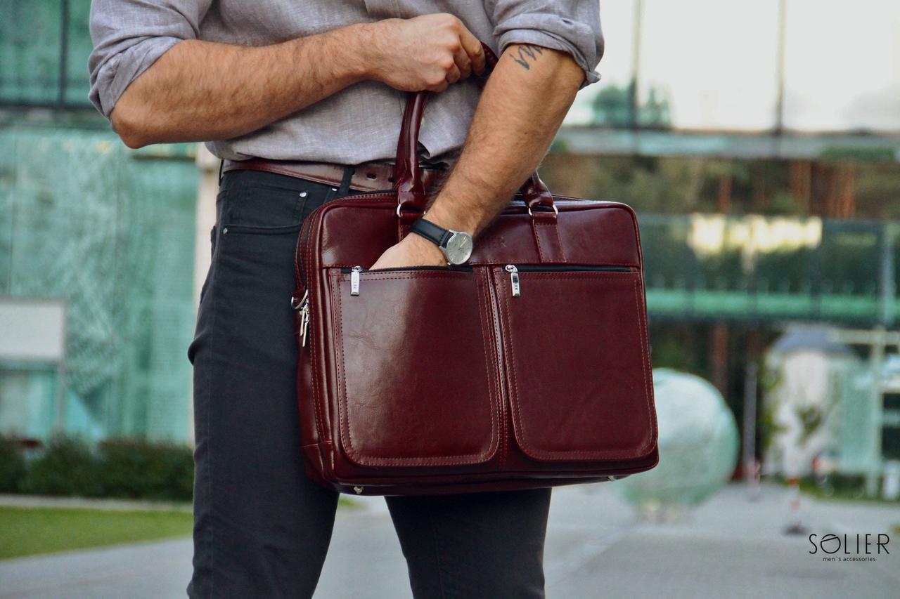 Кожаная сумка на плечо для ноутбука каштановая Solier SL01