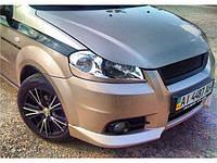 Накладка на передний бампер Chevrolet Aveo Т250 Клыки Шевроле Авео, фото 1