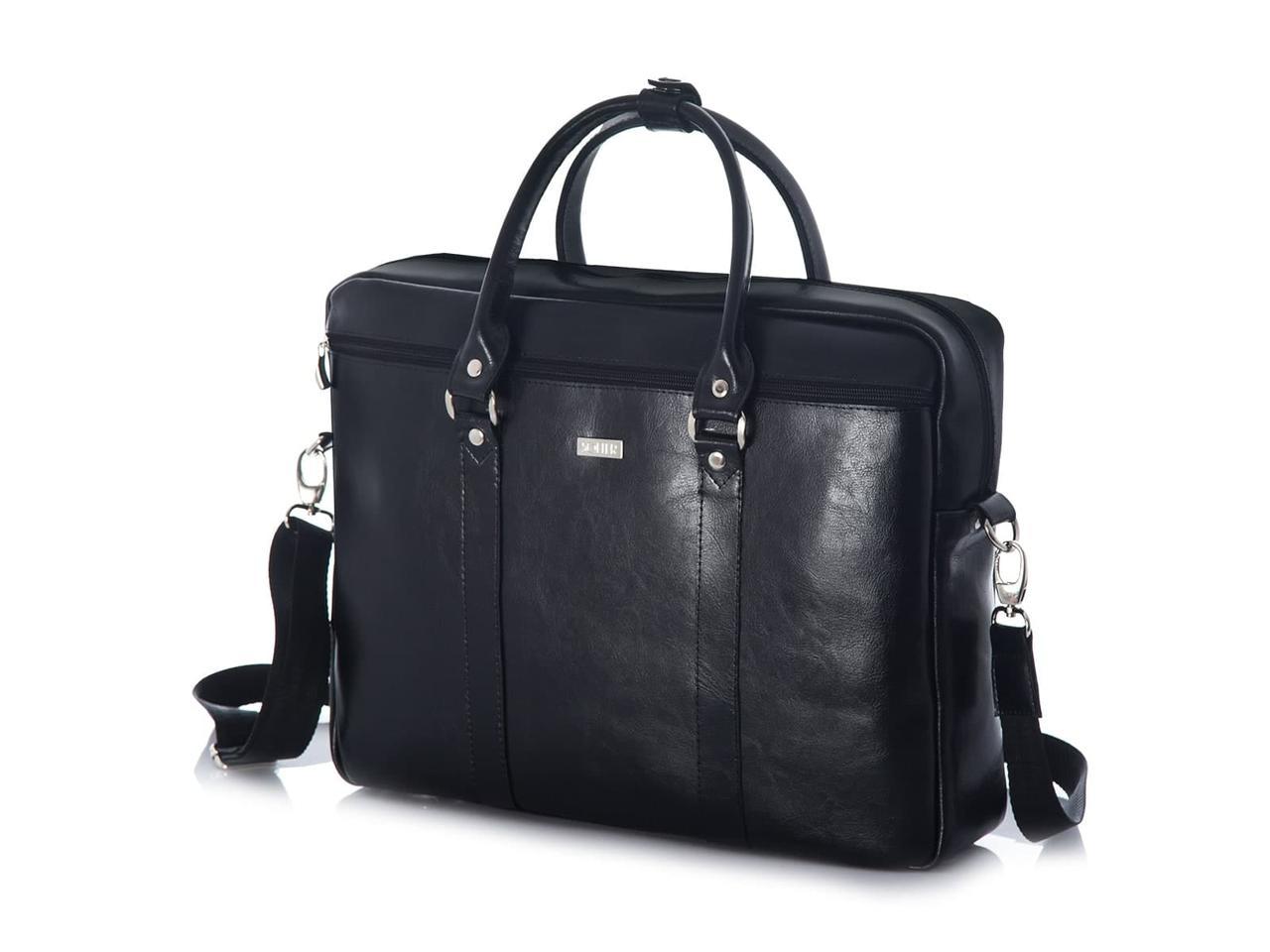 Кожаная сумка для ноутбука через плечо черная Solier SL03