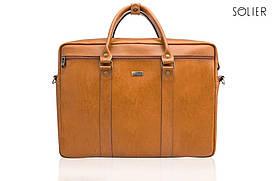 Шкіряна сумка для ноутбука через плече світло коричнева Solier SL03
