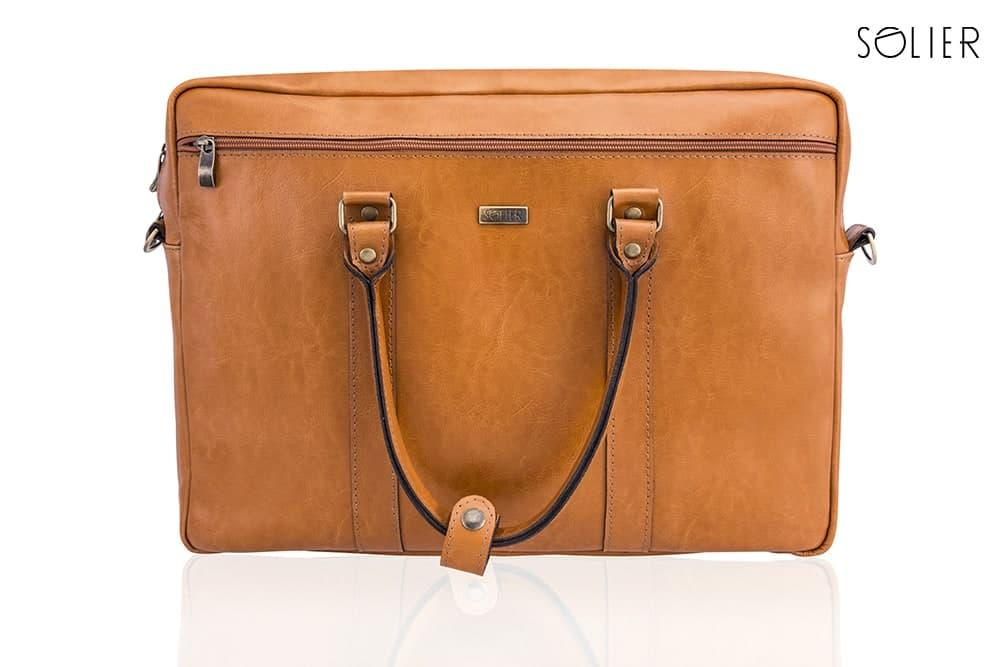 ab5dea09c13c ... Кожаная сумка для ноутбука через плечо светло коричневая Solier SL03 ,  фото 5 ...