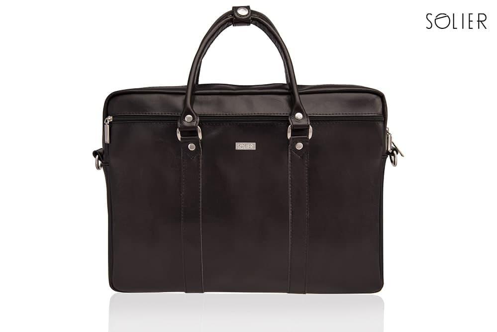 Кожаная сумка для ноутбука через плечо коричневая Solier SL03