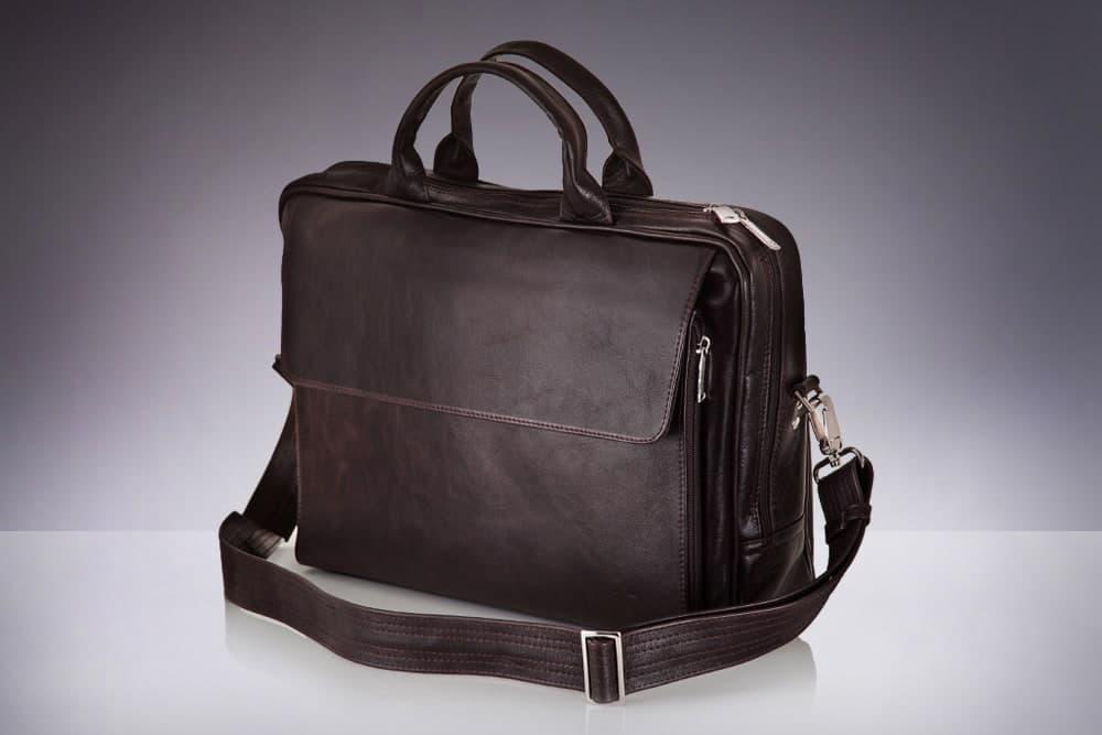 Кожаная сумка на плечо для ноутбука и документов коричневая Solier SL30
