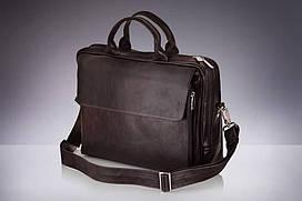 Шкіряна сумка на плече для ноутбука і документів коричнева Solier SL30