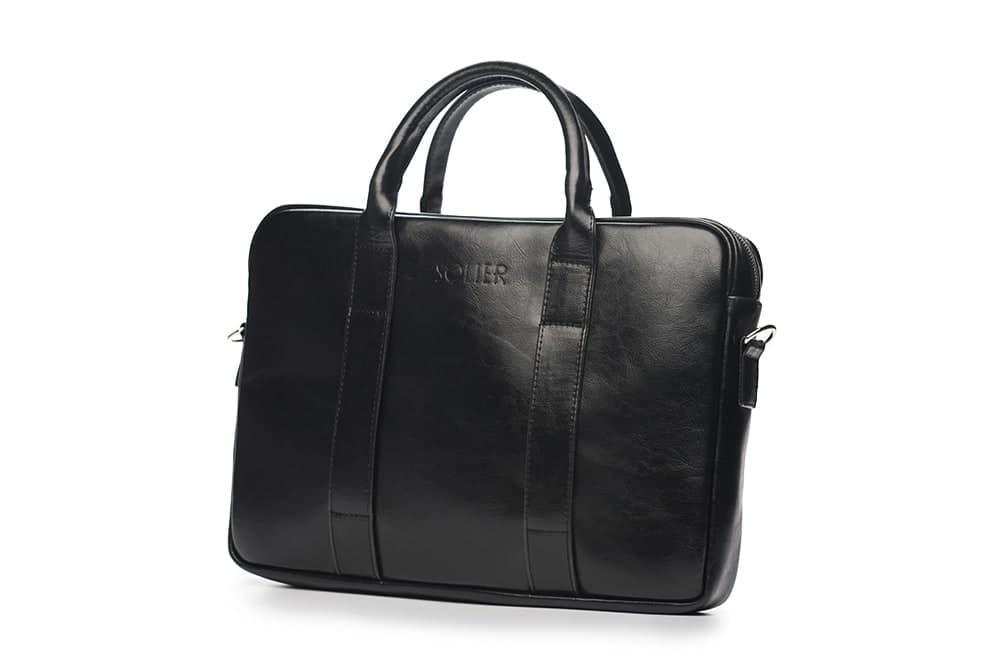 Кожаная сумка для ноутбука EDYNBURG на ремне черная Solier SL20