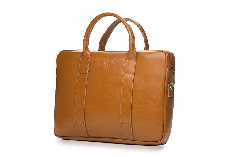 Шкіряна сумка для ноутбука EDYNBURG на ремені світло коричнева Solier SL20