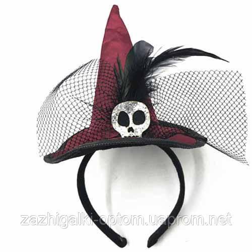 Шляпка на ободке Ведьмочки с Черепом (бордовая)