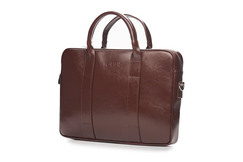 Кожаная сумка для ноутбука EDYNBURG на ремне каштановая Solier SL20
