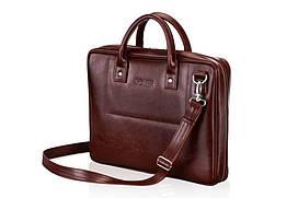 Шкіряна сумка для ноутбука каштанова 15.6 BELFAST Solier SL21