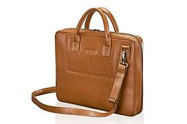 Шкіряна сумка для ноутбука світло коричнева 15.6 BELFAST Solier SL21