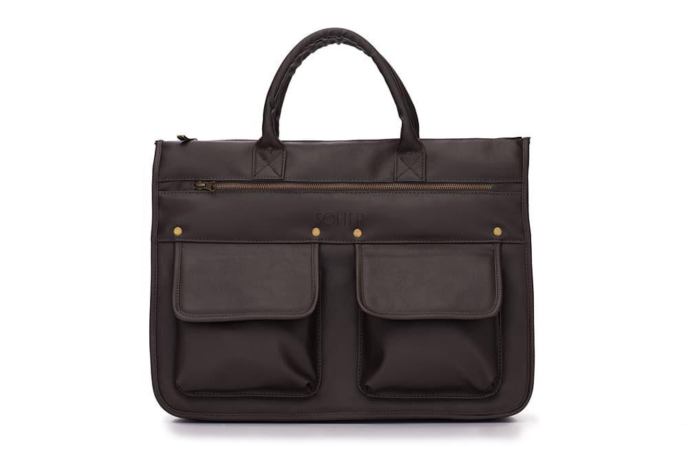 ce89f68d6092 Современный мужской портфель темно коричневый Solier S24 - Интернет -  магазин изделий из экзотической кожи