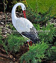 Набивная садовая фигура Аист большой на металлических лапах, фото 2