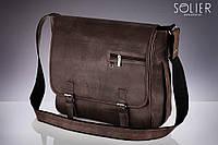 Сумка на плечо коричневая Solier S12, фото 1
