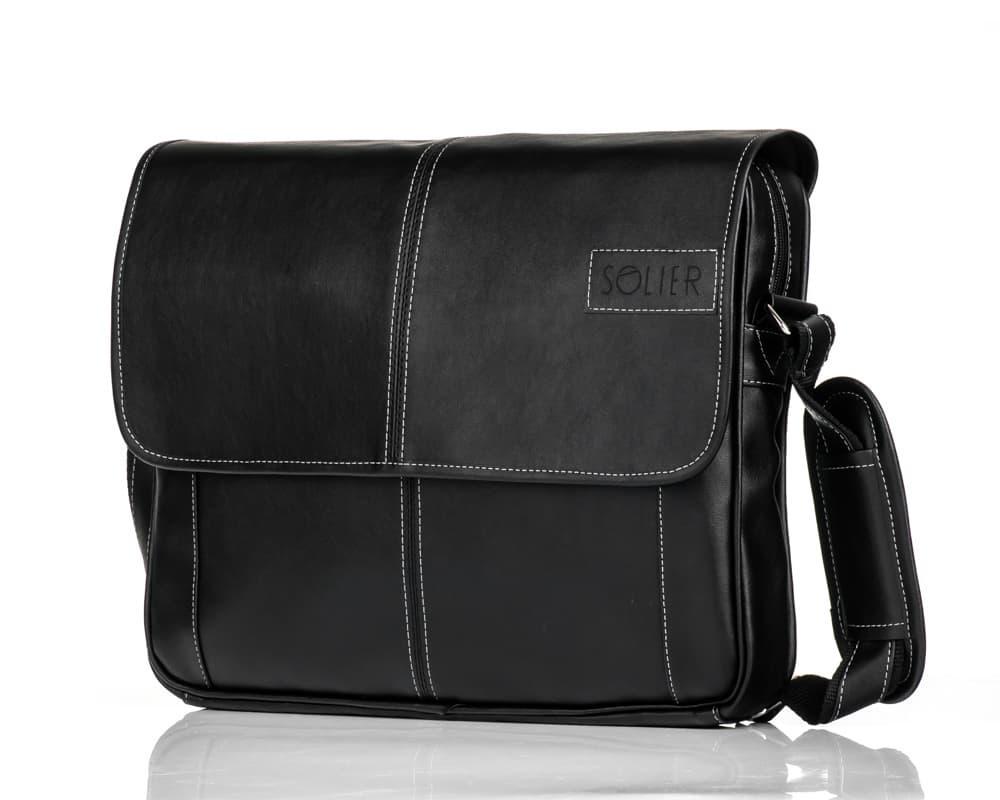 Модная сумка мужская на плечо черная Solier S15