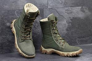Ботинки мужские берцы зимние с мехом темно-зеленые высокие Military Boots Dark Green High Winter