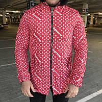 Supreme x Louis Vuitton Jacquard Monogram Red Parka Jacket, фото 1