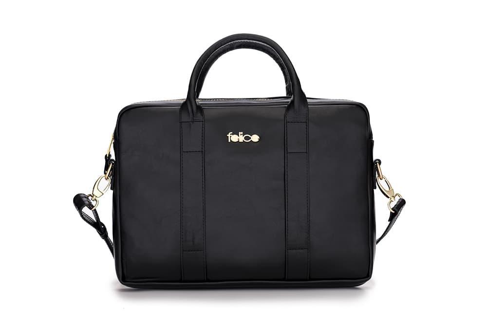 Кожаная женская сумка для ноутбука черная Dulce