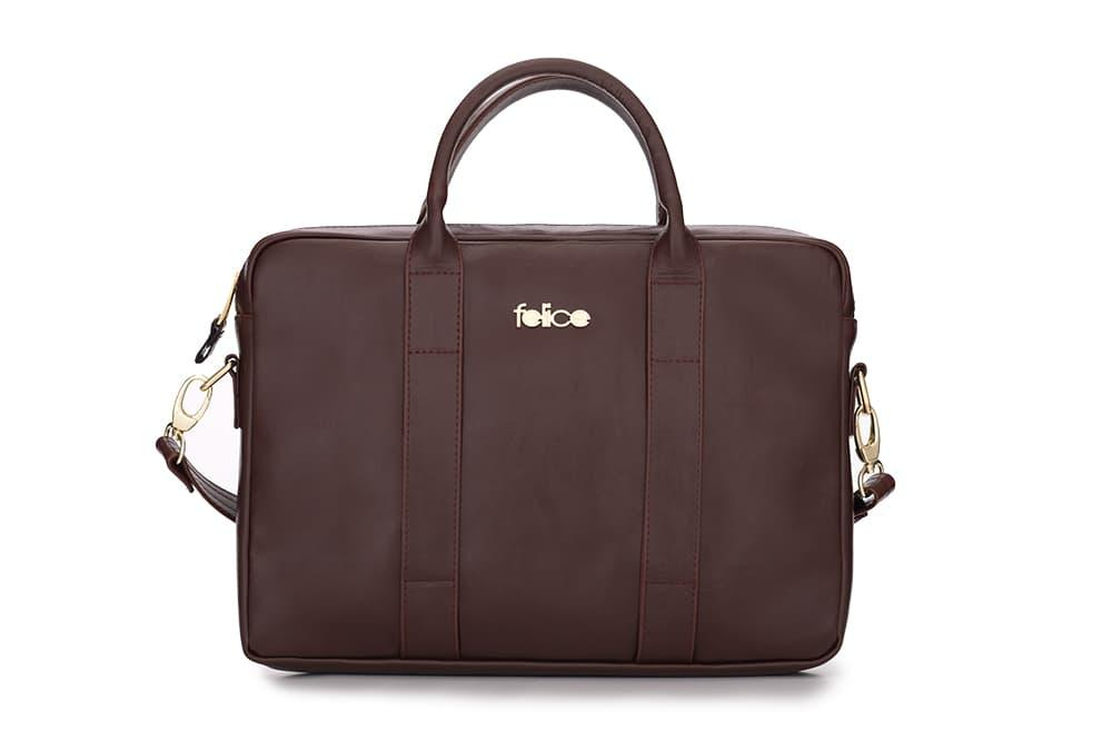 Кожаная женская сумка для ноутбука коричневая Dulce