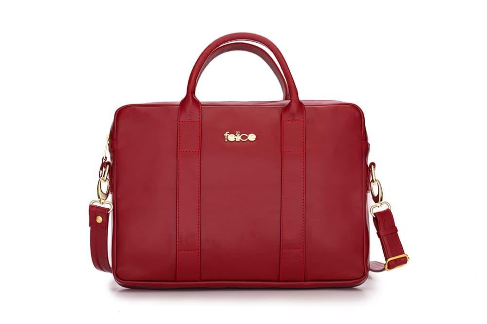 Кожаная женская сумка для ноутбука красная Dulce