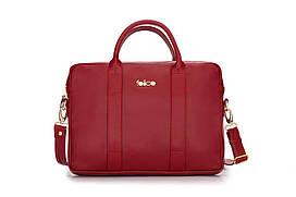 Шкіряна жіноча сумка для ноутбука червона Dulce