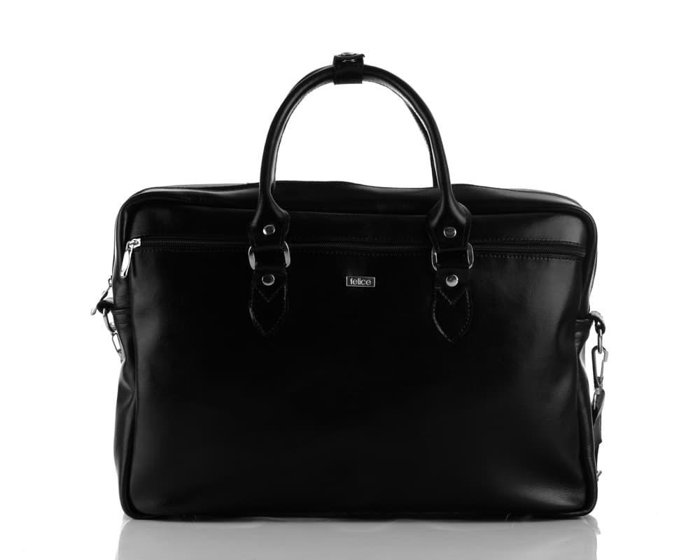 Кожаная женская сумка для ноутбука черная Marina