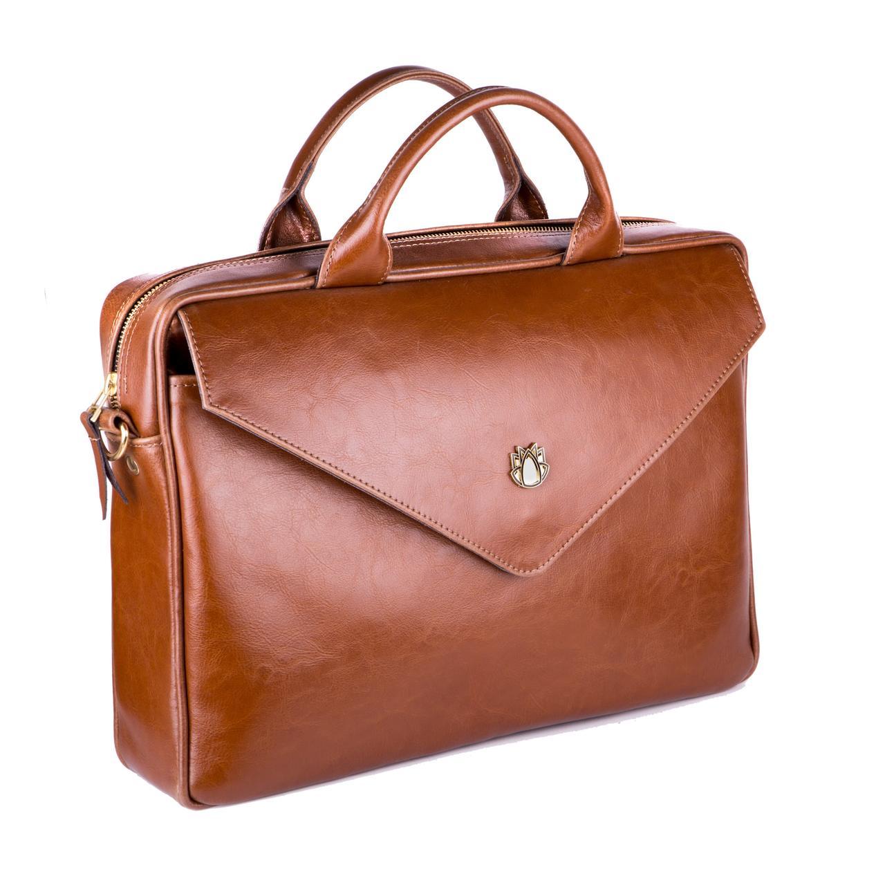 Кожаная женская сумка для ноутбука коричневая Felice Fl15
