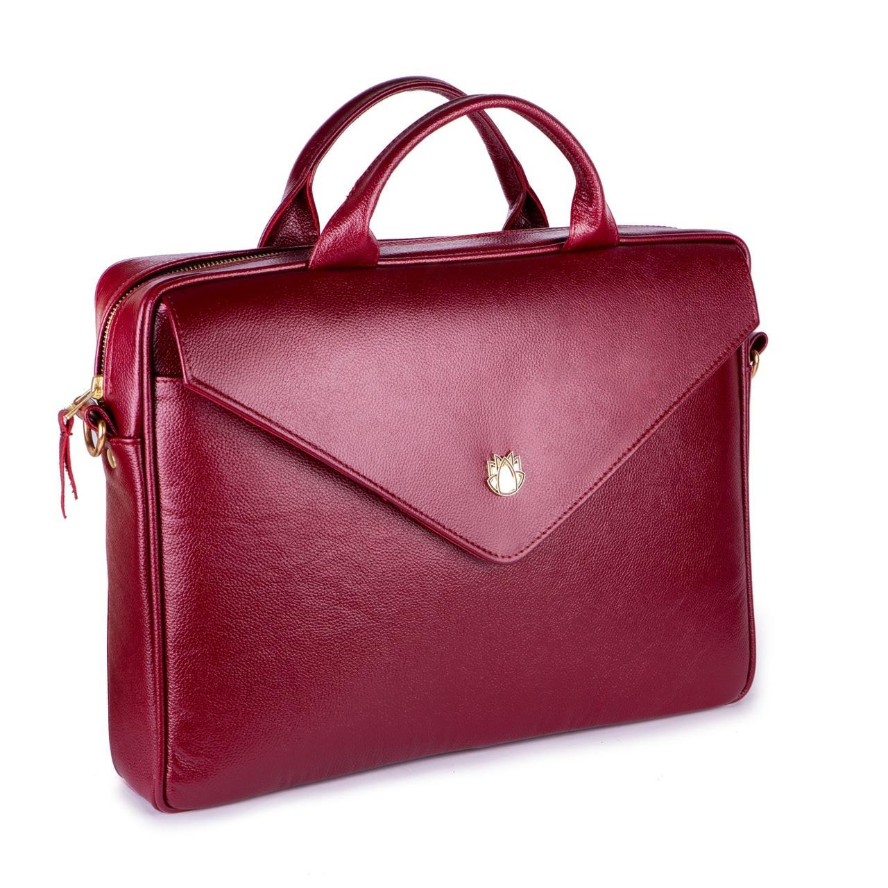 Кожаная женская сумка для ноутбука красная Felice Fl15