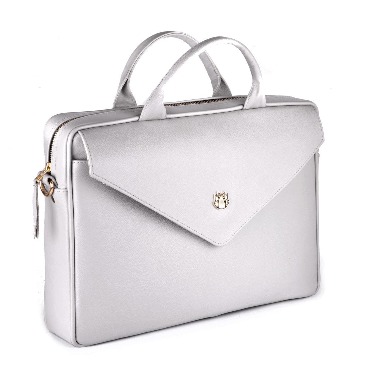 Кожаная женская сумка для ноутбука серая Felice Fl15