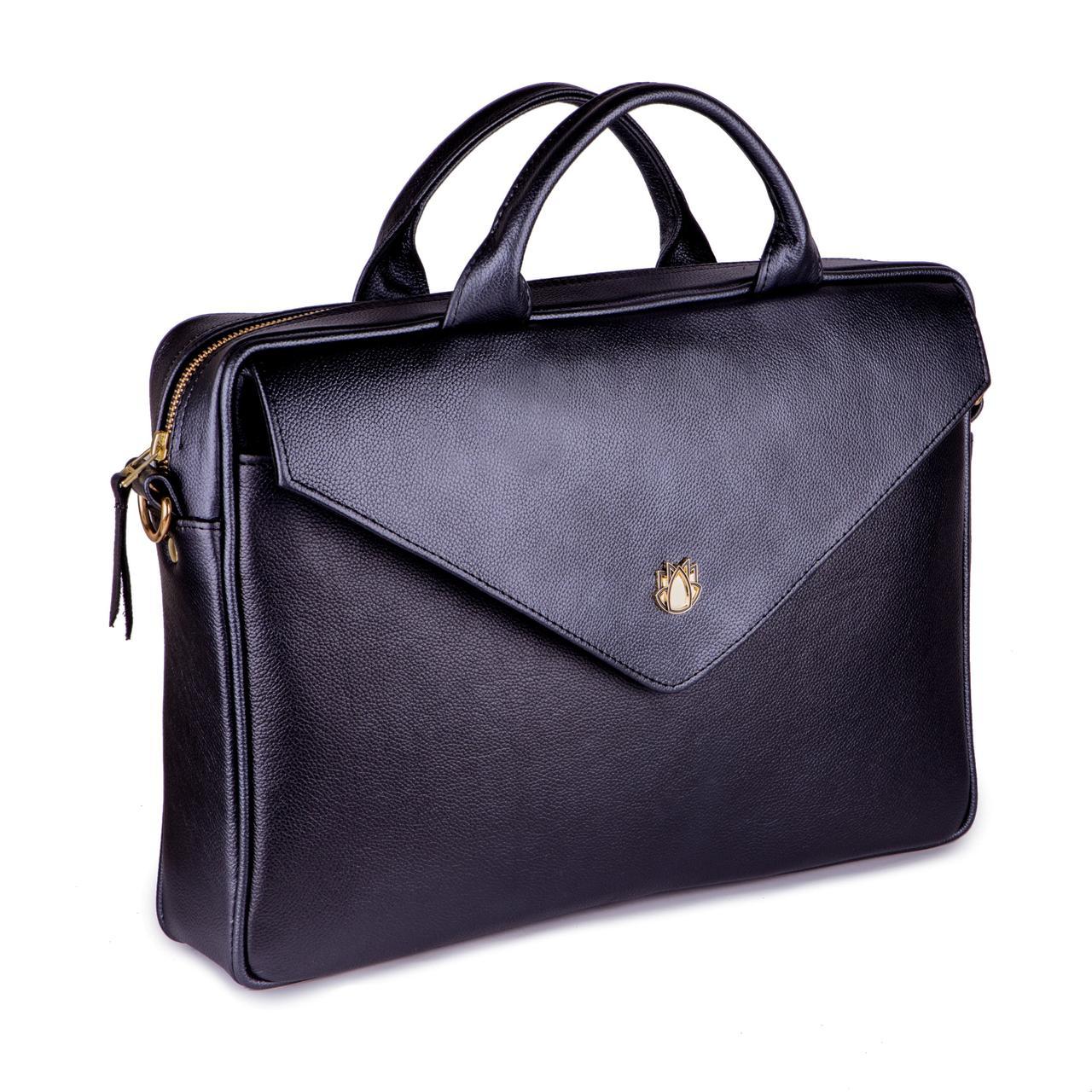 Кожаная женская сумка для ноутбука черная Felice Fl15