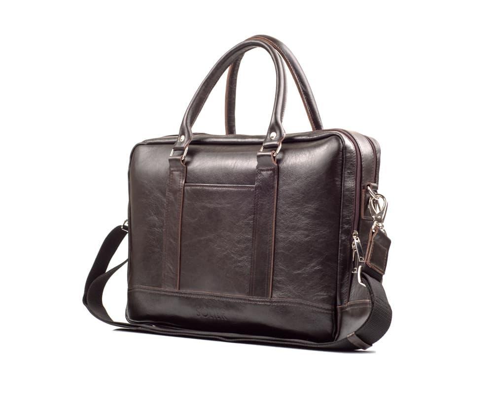 Кожаная сумка на плечо для ноутбука и документов Коричневая Solier SL02
