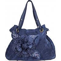 Сумка женская №8258-2 цветок джинс Синий, фото 1