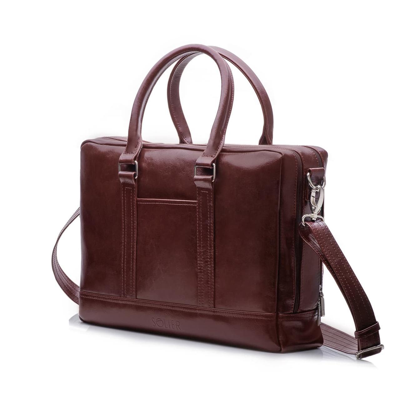 Кожаная сумка на плечо для ноутбука и документов Каштановая Solier SL02