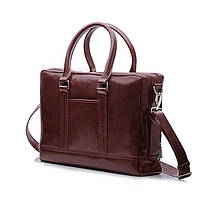 Кожаная сумка на плечо для ноутбука и документов Каштановая Solier SL02 , фото 1