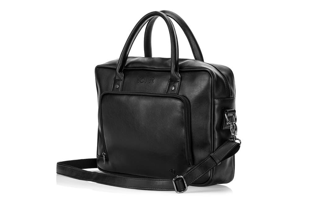 Кожаная сумка на плечо для ноутбука и документов Черная Solier S19