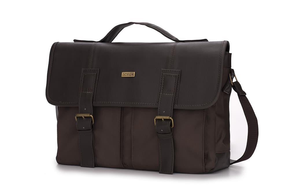 Городская кожаная сумка на плечо Коричневая Solier S14