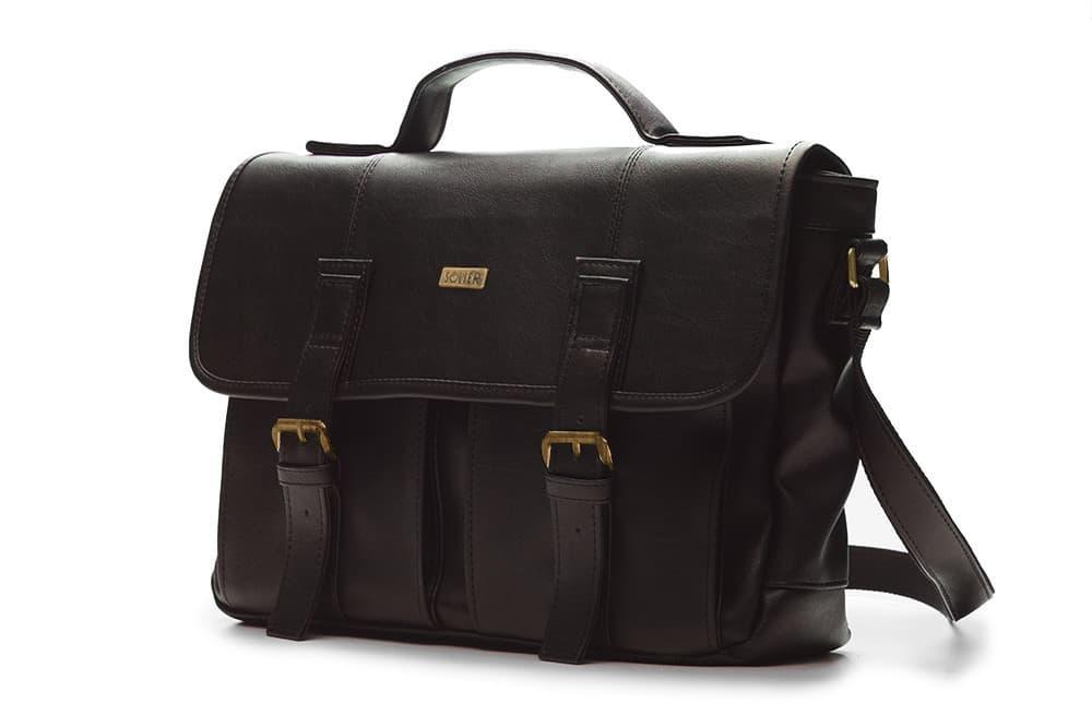 Городская кожаная сумка на плечо Темно - Коричневая Solier S14