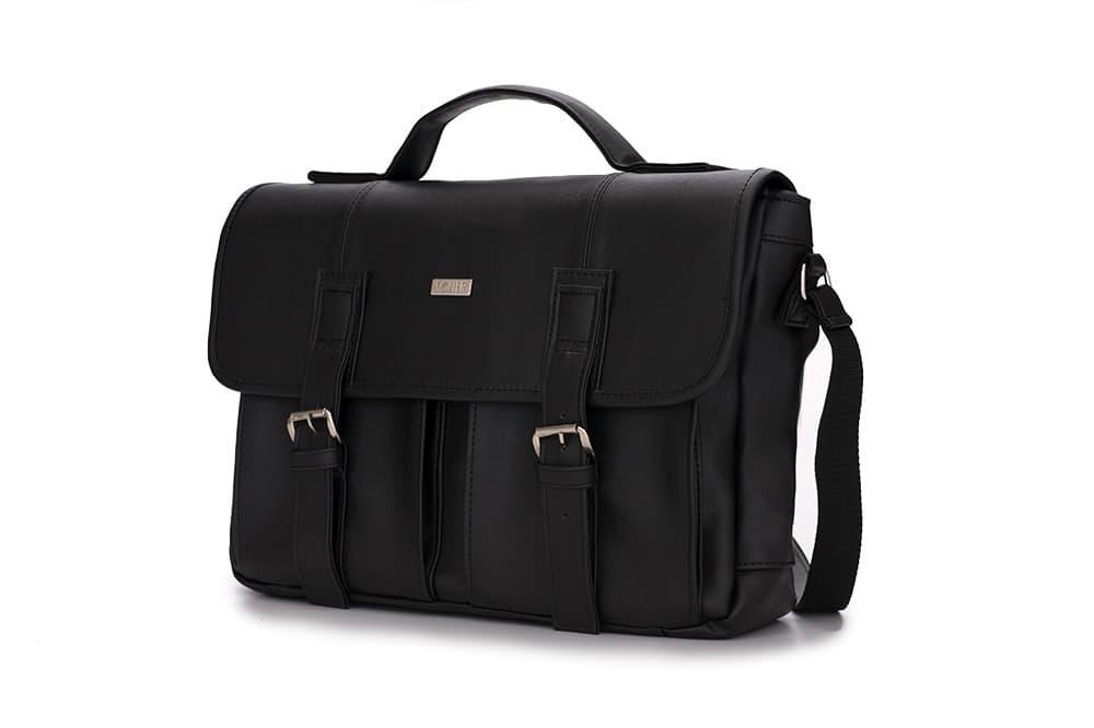 Городская кожаная сумка на плечо Черная Solier S14