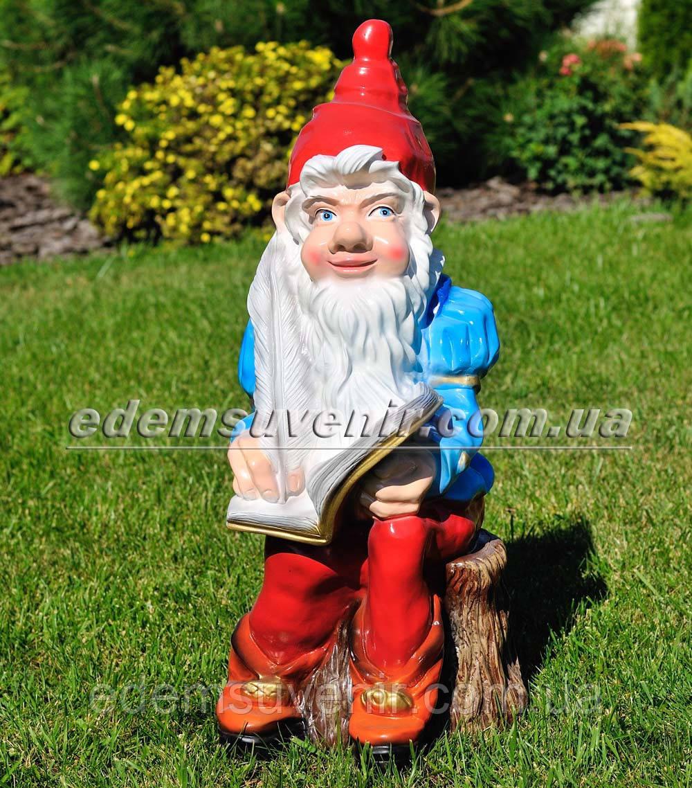 Садовая фигура Гном писатель