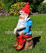 Садовая фигура Гном писатель, фото 2