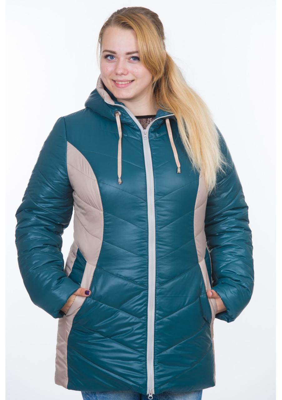 Зимняя куртка на синтепоне женская теплая на молнии, изумрудная