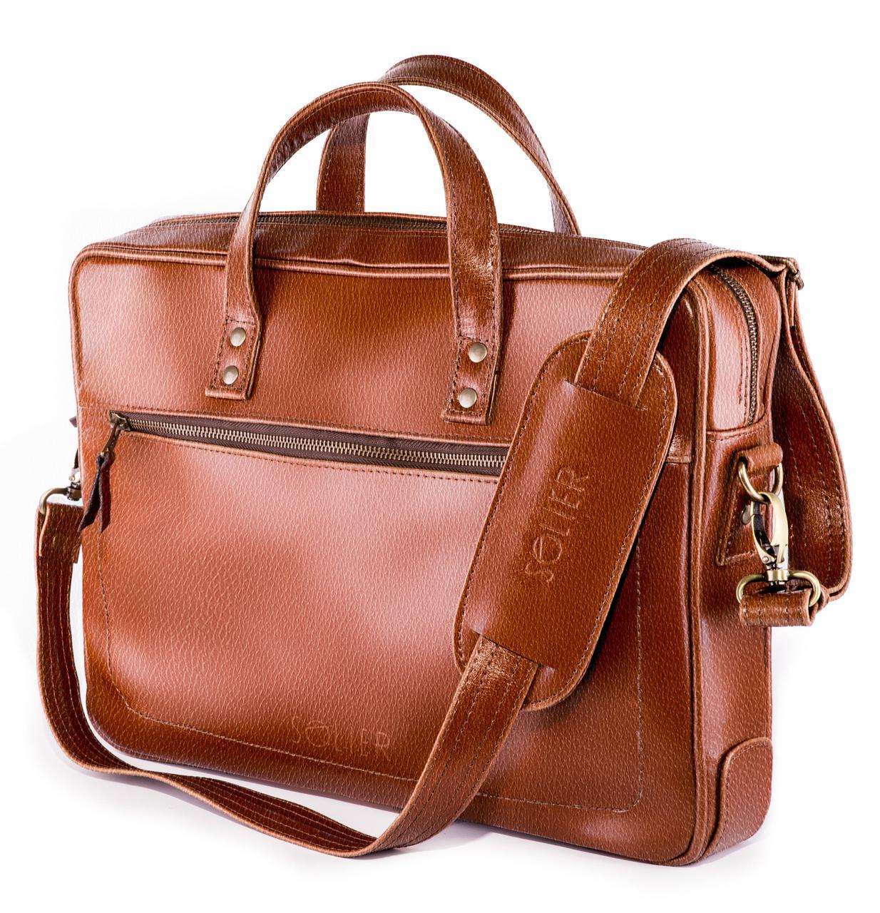 Кожаная сумка для ноутбука Светло - коричневая Solier SL04