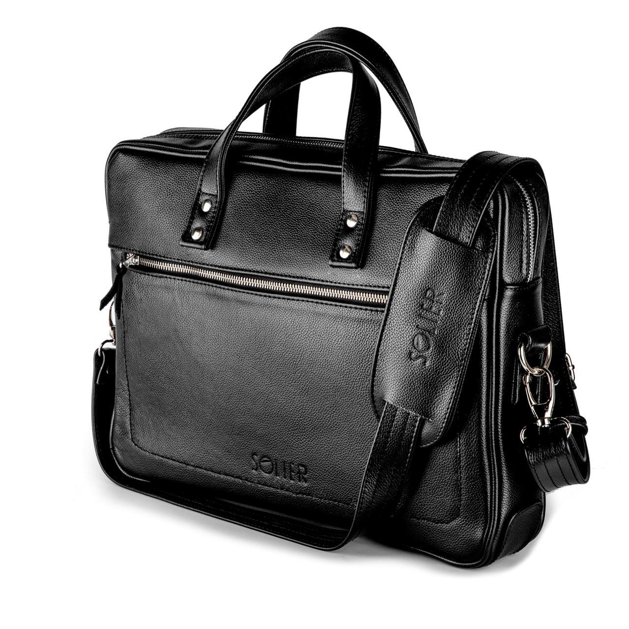 Кожаная сумка для ноутбука Черная Solier SL04
