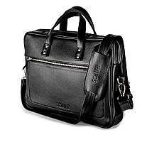 Кожаная сумка для ноутбука Черная Solier SL04 , фото 1