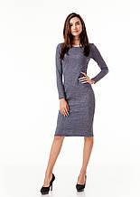 Платье-футляр. Модель П092_серо-синий цветочек