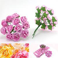 Роза бумажная 1,5см (букет 12 шт) Цвет - Розовый