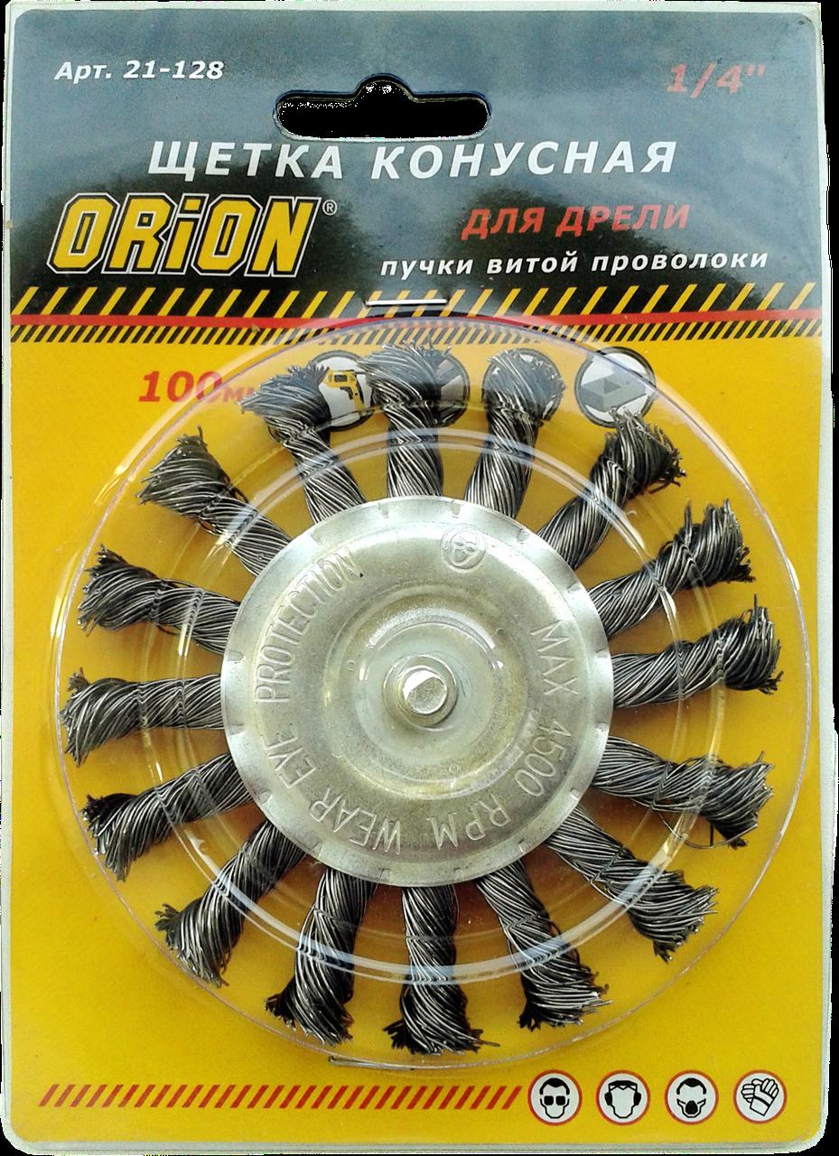 "Щетка кольцевая 100 мм для дрели, 1/4"" (витая проволока) ""ORION"""