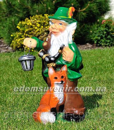 Садовая фигура Гном с лисой и фонарем, фото 2